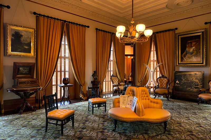 Rich, Golden Satin Drapes Now Frame The Nine Floor To Ceiling Windows And  Tones Of Gold And Brown Echo In The Wool Carpet, Recreating What Was Once  Seen In ...